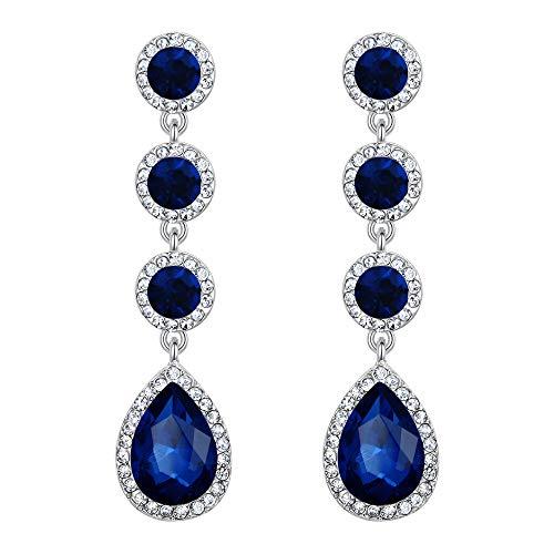 Clearine Damen Ohrringe Hochzeit Braut Kristall Cluster Teardrop Blätter baumeln Ohrhänger Ohrstecker Ohr Schmuck Sapphire-Blau Silber-Ton