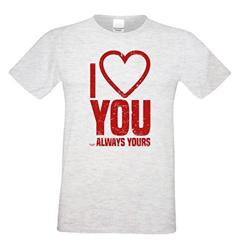 Geschenk zum Valentinstag für Ihn T-Shirt Geschenkidee Geburtstag I love you Übergröße Mode für mollige Herren Farbe: grau Grau