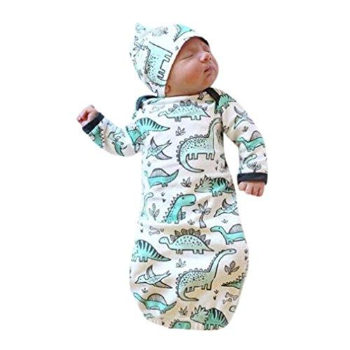URSING 2 Stück Neugeborenes Säugling Baby Mädchen Junge Karikatur Dinosaurier Drucken Pyjamas Kleid Sleeping Swaddle Wrap+ Weich Hut Outfits Babydecke Sommerdecke Kuscheldecke (Weiß) (Baumwolle Stripe Pyjama)