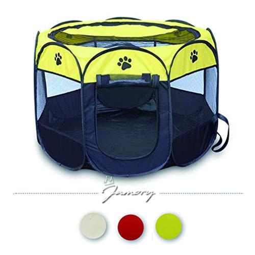 Jamory Hundehütte Tierlaufstall Laufstall Hunde Abdeckung Hundezelt Outdoor oder Indoor (Gelb)