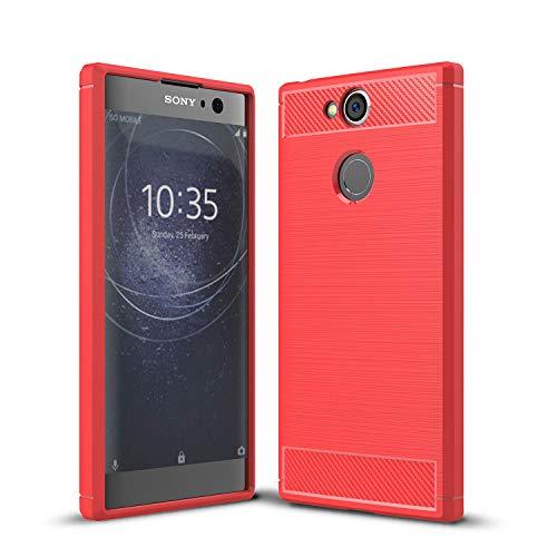 Carbonfaser Design Hülle für Sony Xperia XA2 Hülle Komtable Griffigkeit Slim-Fit [Schutz vor Stößen] Weiches TPU-Gel Rutschfestes Gummi [Kratzfest] für Sony Xperia XA2 Hülle (Red)