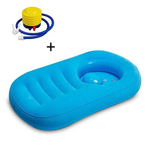 Luerme Aufblasbare Badewanne Faltbares Tragbares Bad Bett Weiches Kissen Duschsitz Badematte mit aufblasender Pumpe für Baby Haar und Kolben Reinigung