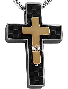 Hanessa Gravierte Kreuz Partner Ketten mit Wunsch Gravur auf der Rückseite aus Edelstahl schwarz / gold und silber...