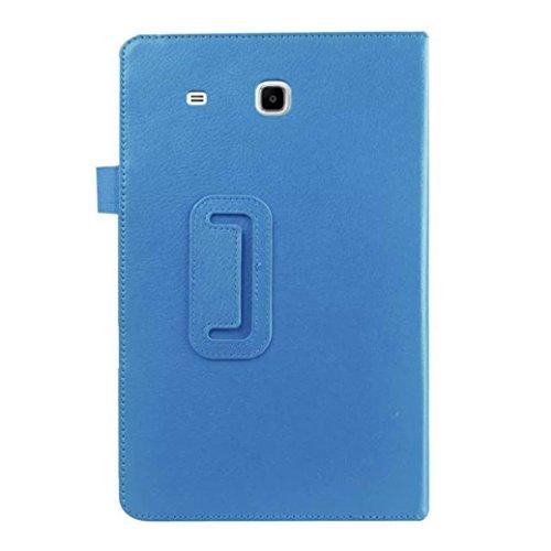 Famille Étui en Cuir Plat Couverture de Protection pour Tablette Samsung Galaxy Tab E T560 / T561 9.6 Pouces (❤️Bleu Ciel, Samsung Galaxy Tab E 9.6 SM-T560 T561)
