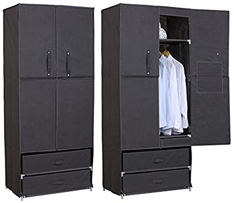 WOLTU Steel Pipe and Canvas Gray Clothes Storage Wardrobe Organiser Unit Rack Hanging Rail 2 Shelves and 2 Drawers,
