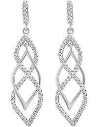 Orphelia Women's Earrings 18 Carat (750) White Gold Diamond White OD - 5324 ouonV