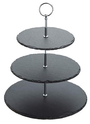 KitchenCraft MasterClass Artesà Three Tier Slate Serving Stand, Slate Grey/Silver
