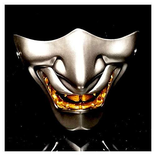 YaPin Prajna Maske Half Face Japanische Erwachsene Cos Ghost Gesicht Yin Yang Shi Teufel LAN Ling Wang Japanische Art Terrorist Tactics Maske (Color : Silver)