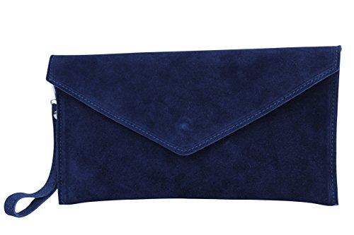 AMBRA Moda Damen Wildleder Envelope Clutch Abendtasche Partytasche Handschlaufe Suede Handgelenktasche Schultertasche Umhaengtasche Unterarmtasche Damentasche Veloursleder WL801 (Marineblau) (Marine-blau-handtasche)