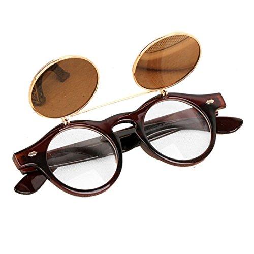 Unisex Sonnenbrille , Loveso 2017 Vintage Steampunk Gothic Runde UV400 Brille Retro Sonnenbrille (C)