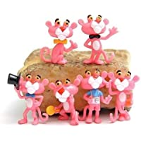 Juego de 6 figuras de acción de pantera rosa de 5 cm con diseño de muñeca de leopardo