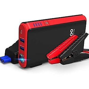 GOOLOO Arrancador de Coche 500A Pico 10000mAh Arrancador Baterias Coche (hasta 4.5L en Gasolina) Arrancador de Baterias de Coche Jump Starter con Linterna LED, Carga Rápida USB QC3.0 (negro)