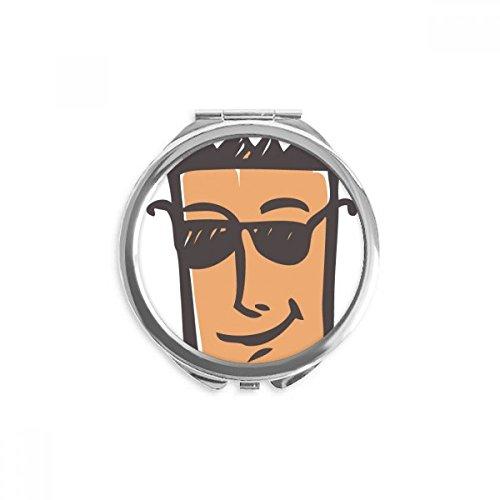 DIYthinker Sonnenbrille Abstraktes Gesichts-Skizze Emoji Spiegel Runde bewegliche Handtasche Make-up 2.6 Zoll x 2.4 Zoll x 0.3 Zoll Mehrfarbig