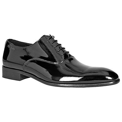 Zweigut® -Hamburg- piekfein #102 Herren Lack Leder Schuh Oxford Schnürschuhe Business Smoking Hochzeit Weite G, Schuhgröße:43, Farbe:lackschwarz