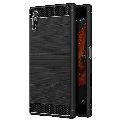 Coque Sony Xperia XZ / Sony Xperia XZs, AICEK Noir Silicone Coque pour Sony XZ / Sony XZs Housse Fibre de Carbone Etui Case