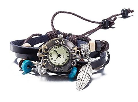 Breloque Bronze perle ovale couleur de bracele Noir Bracelet Ajustable en Cuir avec pendentif feuille