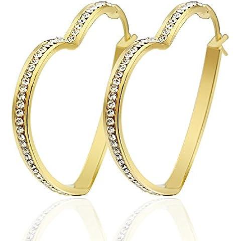 UM Gioielli Donne Cristallo Acciaio inossidabile Cuore quadrata penzolare Grande Cerchio Orecchini Oro