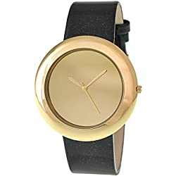 RITAL Women Wrist Watch Fashion Design Simple Clean Dial Gold Case and Black Strap Extremely Fashionable Wrist Watch for Women and Girls