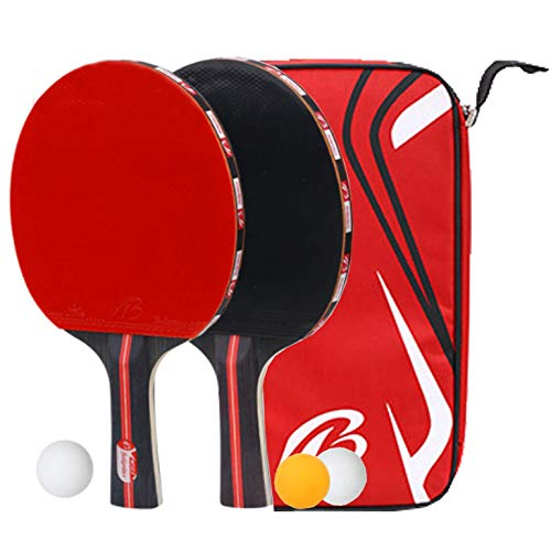 kuaetily Tischtennisschläger, Tischtennis Set, Tischtennis-Schläger mit 3 Tischtennissball, Aufbewahrungstasche Ideal für 2 Spieler