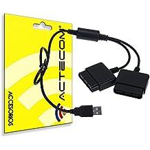 ACTECOM® Adaptador Conversor Mando PS1 PS2 a PC o PS3 USB Videojuegos Negro