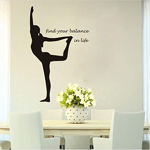 Lovemq Wandaufkleber Sport Yoga Find Your Balance Vinyl Wandtattoo Wohnkultur Diy Kunstwand Tapete Abnehmbare Wandaufkleber Mandala Meditation Yoga Pilates