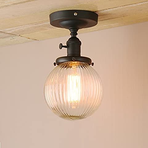 Pathson Industrial Modern Vintage Retro Flush Mount Ceiling Pendant Light Fittings Loft Bar Kitchen Island Lamp Fixture Chandelier with Ribbed Globe Clear Glass Light Shade (Black)