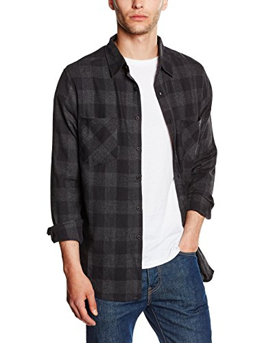 Urban Classics TB297 Herren Regular Fit Freizeit Hemd Checked Flanell Shirt, Gr. Kragenweite: 47 cm (Herstellergröße: XXL), Mehrfarbig (blk/Cha 445) (Flanell Hemd Klassisches)