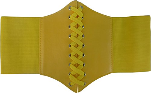 HOEREV® elastischen breiten elastischen Band gebunden waspie Korsett Hüftgurt (Gelb Korsett)