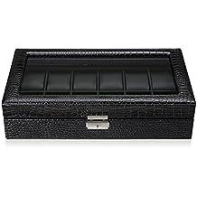 CRITIRON Caja para 12 Relojes, Estuche para guardar relojes, Artesañía Premium de piel sintética cocodrilo, Metal y cristal de alta calidad, Día del Padre, Negro