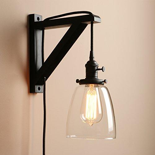Pathson Antik Deko Design Klar Glas innen Wandbeleuchtung Wandleuchten Vintage Industrie Loft-Wandlampen Wandbeleuchtung (Schwarz Farbe)