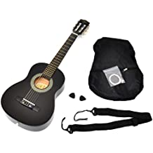 ts-ideen 52071 - Guitarra clásica para niños completa con funda, correa y cuerdas de reemplazo, calidad estándar, tamaño 1/4, color negro