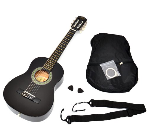 ts-ideen 52071 Kindergitarre Akustik Gitarre in der 1/4 Größe in Schwarz für ca. 4-7 Jahre mit Zubehörset: Gitarrentasche, Gurt und Ersatzsaiten