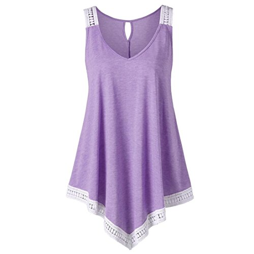 sual V-Ausschnitt Swing Lace Asymmetrische Solide Weste Tank Tops Bluse(Small,Lila) ()