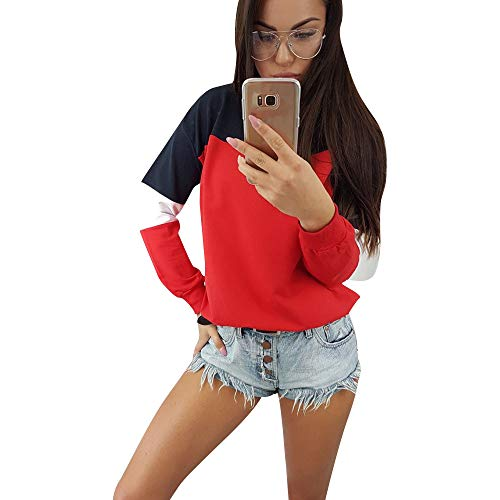 pullover mädchen Liusdh Fashion Color Block Long Sleeve Sweatshirt Pullover Blouse Top for Teen Girl(Red,M) -