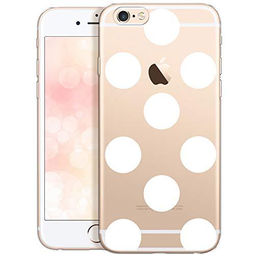 OOH!COLOR Handyhülle kompatibel mit iPhone 6 iPhone 6s Hülle transparent Silikon Motiv Slim durchsichtig dünn Case große weiße Punkte (EINWEG)