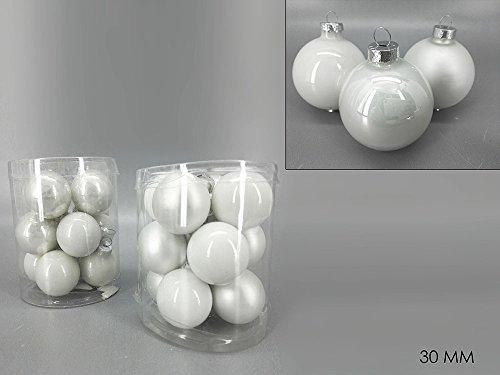 Buystar 24pz sfera natalizia in vetro bianca palle per albero di natale in vetro decorazioni addobbi per albero di natale ornamento decoro per natale