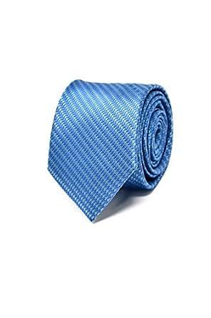 Oxford Collection Cravate Homme à rayures Bleu - 100% en Soie - Classique, Elégante et Moderne - (Idéale pour un cadeau, un mariage, avec un costume, au travail…)