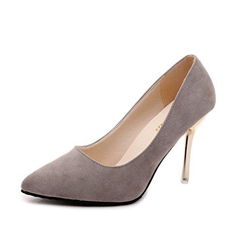 Chaussures à pointes en automne/Chaussures à talon haut talon Asakuchi/ les chaussures en daim gris A