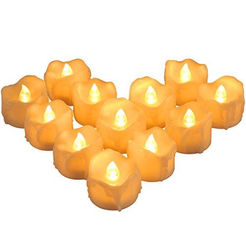 zen, LED kerzen mit Timerfunktion, Flackern Tee Lichter Dekorations Kerzen, LED Kerze Batteriebetrieben, Flammenlose Tealights für Weihnachten, Hochzeit, Party - Warmes Weiß ()
