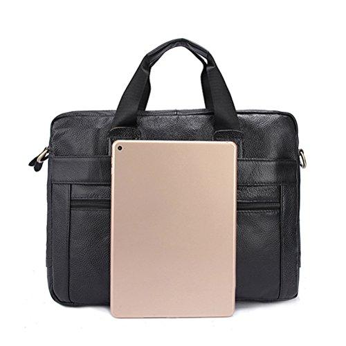 Zhhlinyuan Luxus Mens Work Business Smooth First Cowhide Leather Slim Zipper Messenger Shoulder Bag Briefcase Black