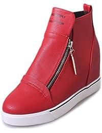 77573dbd40a8 Damen Sneaker Reißverschluss Rundzehen Unsichtbare Erhöhung High-Top  Freizeitschuhe Komfort Modisch Flach Schuhe