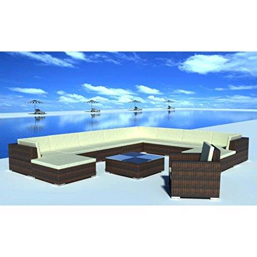 Lingjiushopping Ensemble de meubles de jardin 35 pièces m š ® n poli Rat š ¢ n épaisseur des coussins : 6 cm