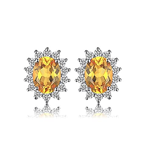 JewelryPalace Kate Princess Diana 1.1ct Natural Citrine Halo Stud Earrings 925 Sterling Silver