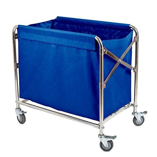 Kstcfc Arbeit nach Hause Warenkorb Werkzeug Klapp Leinen Rollwagen, Hotel Wäschesortierer Wagen mit Universalbremsrad, Zimmerservice Trolley Geeignet für Jede Szene (Farbe : Blau) -