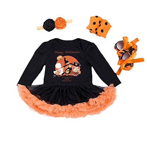 BabyPreg Halloween Cosplay Kostüme Baby Mädchen Schädel Brechen Kürbis Kleid 4 Stück (S / 3-6 Monate, Hexe lang)