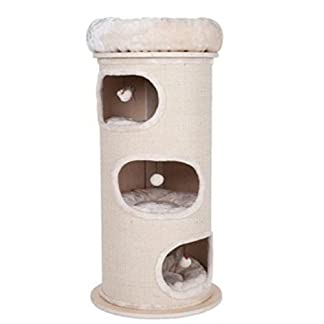 Sturdy Cat Scratching Barrel Three Dens With Individual Removable & Washable Cushions And A Comfy Snuggle Bed - With A Solid Wood Base By eCommerce Exellence 24