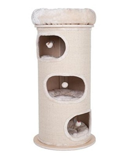Sturdy Cat Scratching Barrel Three Dens With Individual Removable & Washable Cushions And A Comfy Snuggle Bed - With A Solid Wood Base By eCommerce Exellence 1