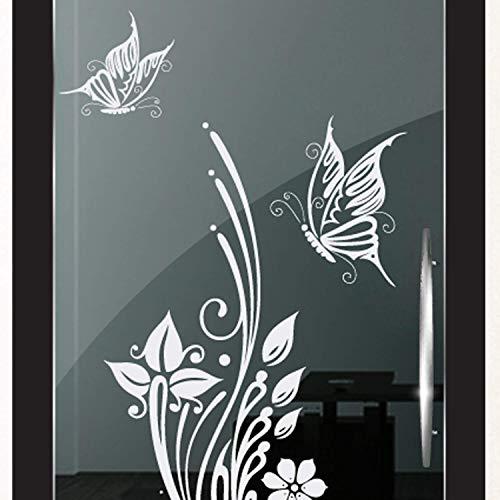 DD Dotzler Design 2111-2 Milchglas-Folie Fenster-Folie Klebe-Folie Glas-Dekorfolie Fenster-Aufkleber Sichtschutz-Folie Fenster-Tattoo Schmetterling Blume Duschkabine -
