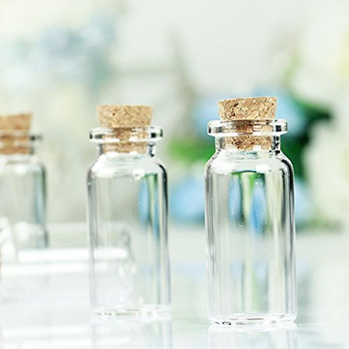 10Pcs Mini 22*50mm Empty Clear Glass Wishing Bottles Vials With Cork 10ml by GAOHOU
