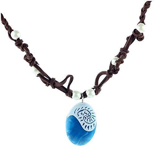 Collar–N–oceania–vaiana–Piedra–Azul–accesorios–niña–mujer–Chica–Idea para regalo–Color Azul